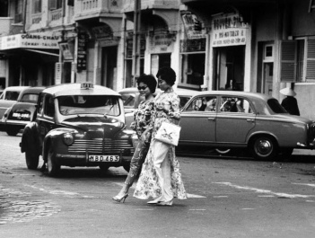 Vietnamese women crossing the street in Saigon 1961